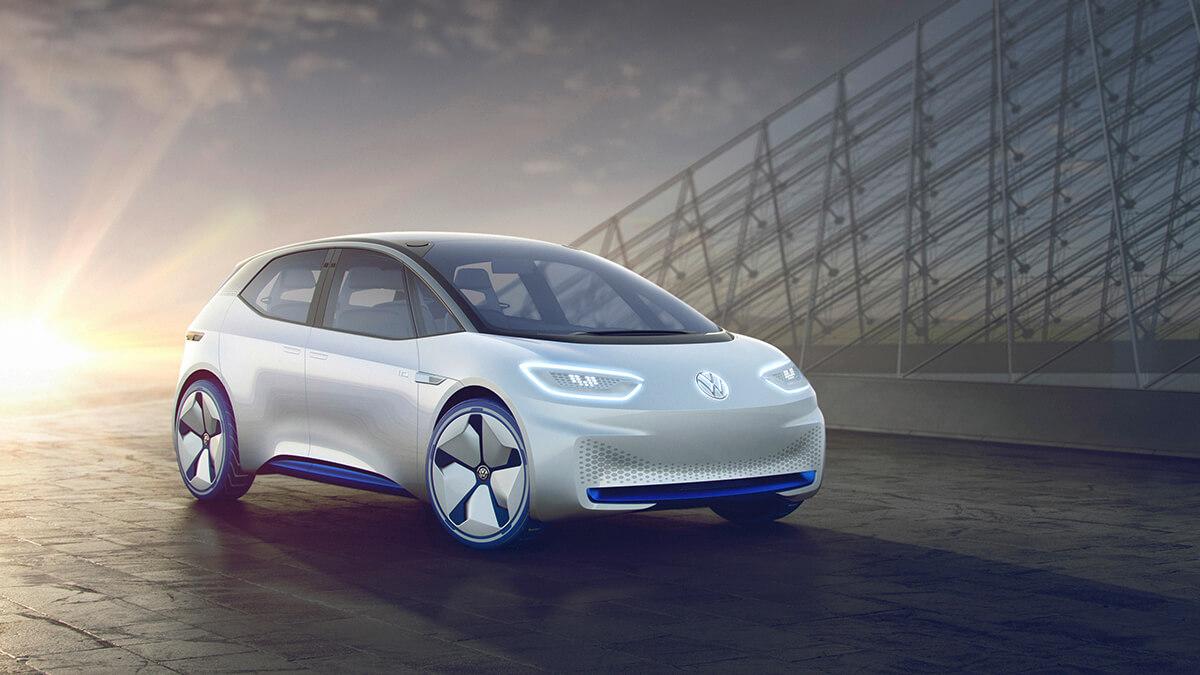 01_EuroNCAP - Volkswagen Showcar I.D. I.D. ? die Revolution. Der erste Volkswagen auf der vlig neuen Elektrofahrzeug-Plattform. Der erste Volkswagen, der f das automatisierte Fahren vorbereitet ist.