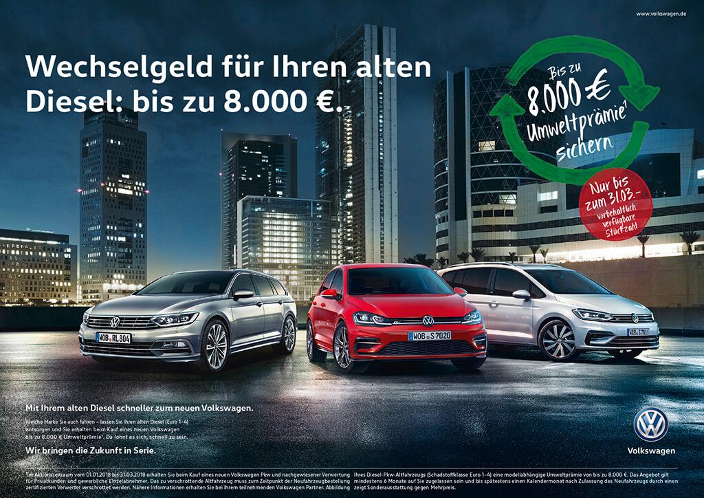 VWのディーゼル代替補助金、3月まで延長 - Volkswagen verlängert erfolgreiche Umwelt- und Zukunftsprämien in Deutschland